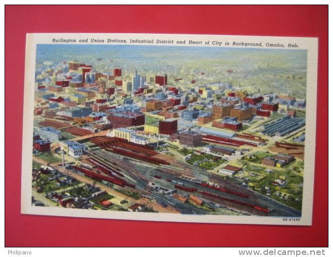 Nebraska > Omaha--  Aerial View Burlington & Union Stations  Linen==   == Ref 273 - Etats-Unis