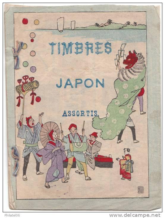 JOLI LIVRET TIMBRES ET CARTES JAPONAIS CONFECTIONNE AU DEBUT DU SIECLE POUR LES TOURISTES OCCIDENTAUX - Collections, Lots & Séries