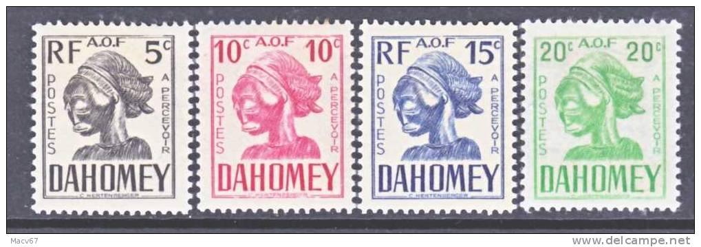 French Dahomey  J 19-22    PORTO  * - Unused Stamps