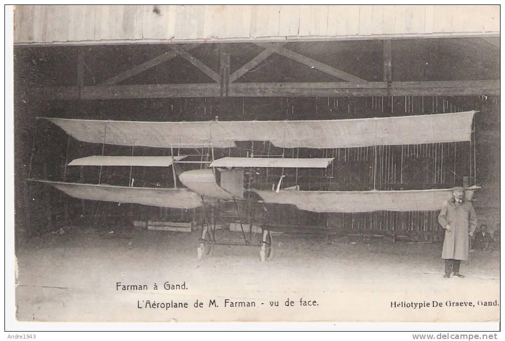 Aviation -Farman à Gand -l´aéroplane Vu De Face (publicitaire Théatre Pathé Bruxelles) - Piloten