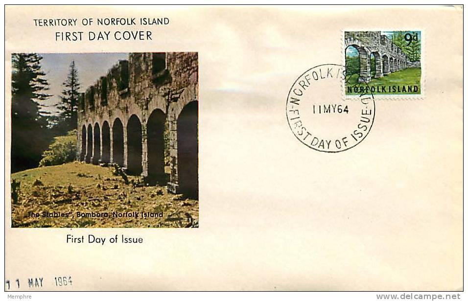 NORFOLK  IS.  1964 FDC  9 D.  Arches - Norfolk Island