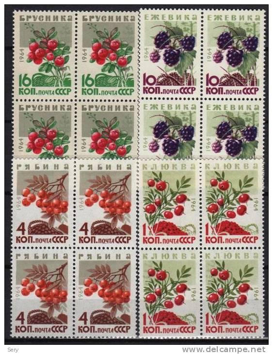 USSR 1964  MNH 4 Blocs De 4 V Berries Baies Airelle  BlackBerry Sorbier Des Oiseleurs Canneberges - Frutta