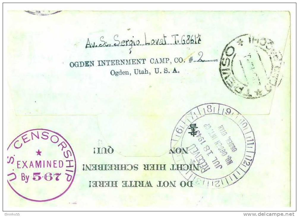 Ww2 Prigionieri Di Guerra - Corrispondenza Da Stati Uniti - Ogden, Utah - Per Treviso - Prigione E Prigionieri