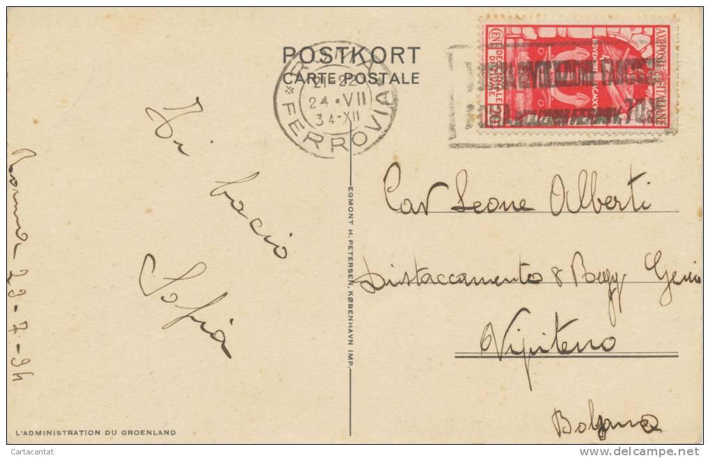 GROENLANDIA. LA MINIERA DI CRYOLITE DI IVIGTUT. INTERESSANTE CARTOLINA DEL 1934 - Groenlandia