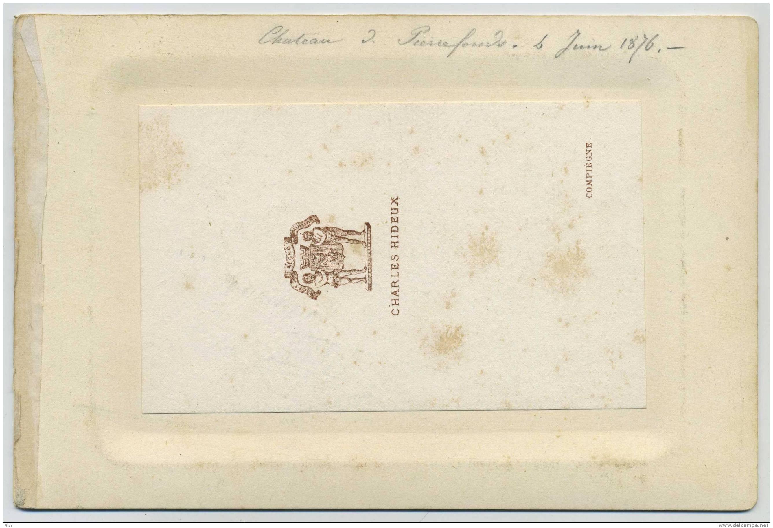 Cabinet 1876 Charles Hideux à Compiègne. Le Château De Pierrefonds Se Reflétant Dans L'eau. - Old (before 1900)