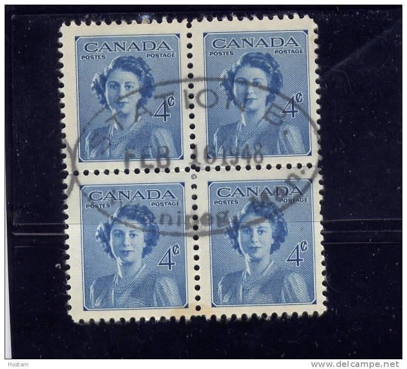 CANADA, 1948,  1st DAY  CANCELLATION BLOCK OF 4, # 276,  WINNIPEG FEV 16 1948. ROYAL WEDDING - 1937-1952 Règne De George VI