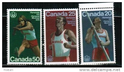 CANADA, 1976,  # 664-665-666, TRACK AND FIELD SPORTS:POLE VAULT, MARATHON, HURDLES   M NH - 1952-.... Règne D'Elizabeth II