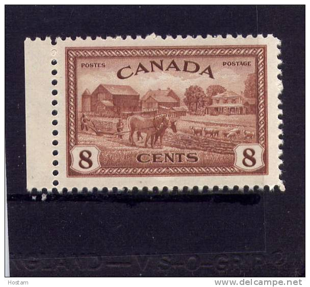 CANADA, 1946,  # 268, K G V1  PEACE ISSUE; EASTERN FARM SCENE SINGLE  M NH - 1937-1952 Règne De George VI