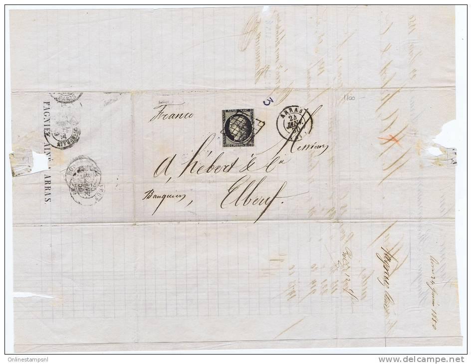 France, Lettre 1850 De Arras -> Royan Et Paris A Elbeuf, Nr 3, Grille Et Petit Cachet A Date - 1849-1850 Cérès