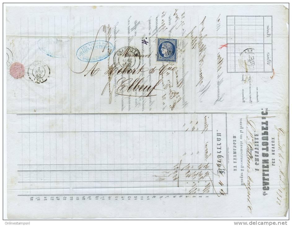 France, Lettre 185 De Granville  A Elbeuf Par Caen, Nr 4, Grille 1441 Et Cachet A Date - 1849-1850 Cérès