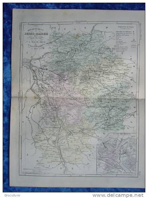 -Malte Brun-1854-Carte Géographique De La Seine Et Marne-Plan De Melun- - Geographische Kaarten