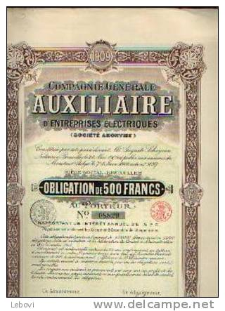 BRUXELLES - Cie Gén. AUXILIAIRE D'entreprises électriques (1909) - Electricité & Gaz