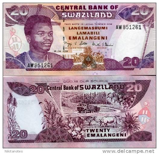 SWAZILAND 20 Emalangeni 2006 P-30c UNC - Coins & Banknotes