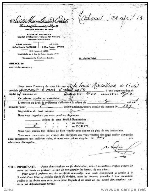 Société Marseillaise De Crédit -Rue Paradis Maeseille -Avis D'augmentationde Capital Par Actions Au Porteur Ou En CCDVT - Non Classés