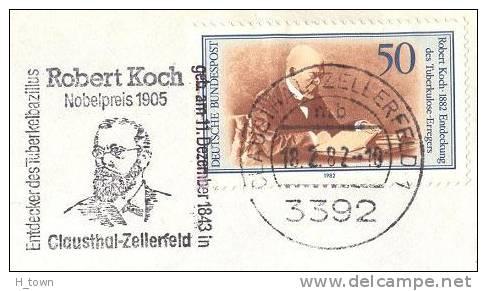 Robert Koch - Flamme 1982, 1er Jour Du Timbre !   –  Tuberculosis Bacillus Tuberculose - Prix Nobel 1905 - Medizin