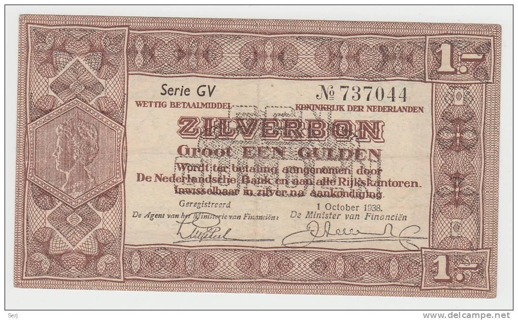 Netherlands 1 Gulden Zilverbon 1938 VF++ CRISP Banknote - 1 Gulden