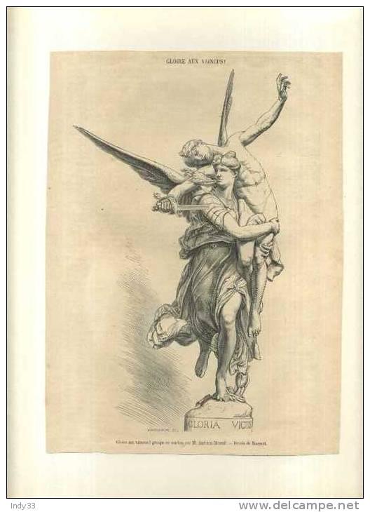- GLOIRE AUX VAINCUS ! GROUPE EN MARBRE PAR A. MERCIE . GRAVURE SUR BOIS DU XIXe S.   DECOUPEE ET COLLEE SUR PAPIER - Sculptures