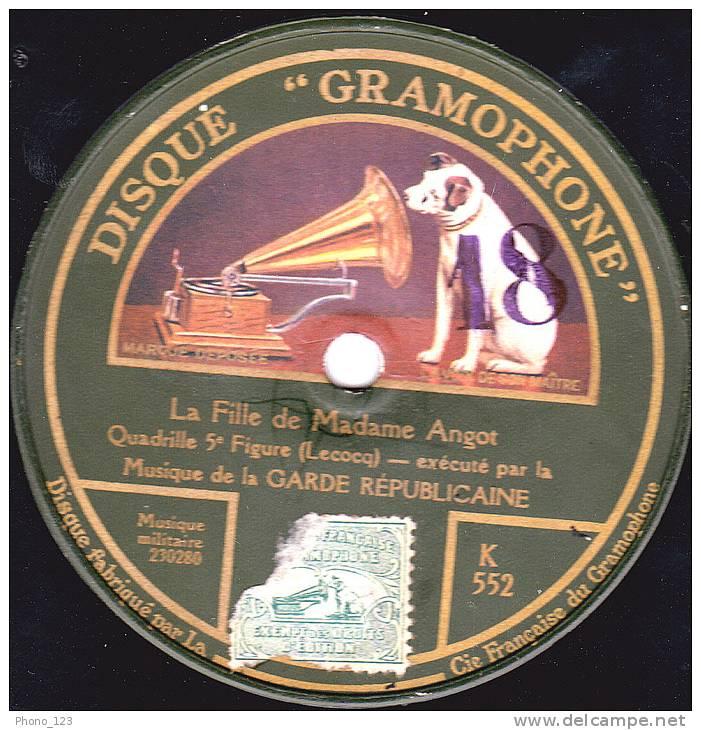 """Disques 78 Tours  """"DISQUE GRAMOPNONE"""" LA GARDE REPUBLICAINE  La Fille De Madame Angot - ORCH. CHAMPËTRE La Linotte - 78 Rpm - Schellackplatten"""