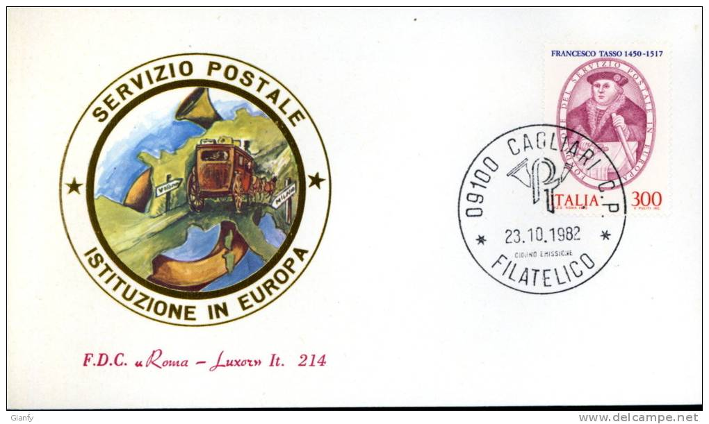 TASSO SERVIZIO POSTALE 1982 FDC ROMA LUXOR - F.D.C.