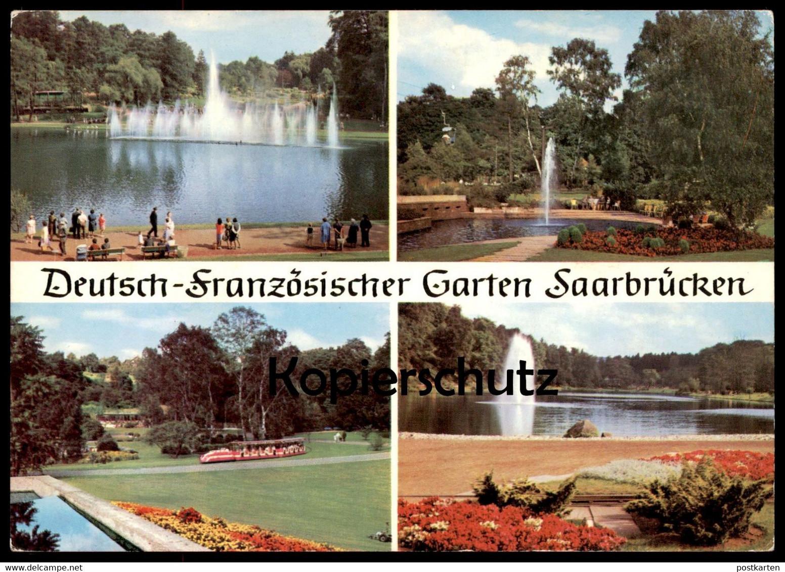 ÄLTERE POSTKARTE SAARBRÜCKEN DEUTSCH-FRANZÖSISCHER GARTEN jardin Zug train touristique locomotive Brunnen fontaine cpa