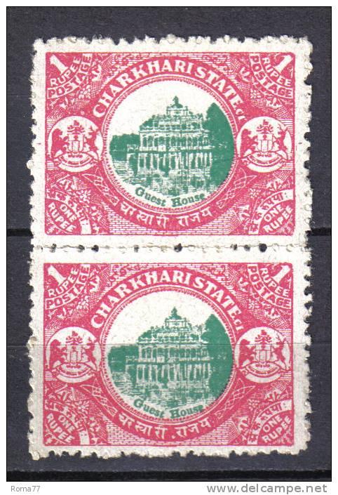 AP974 - STATI INDIANI , CHARKHARI : 1 Rupia Con Centro DECALCATO . Coppia - Charkhari