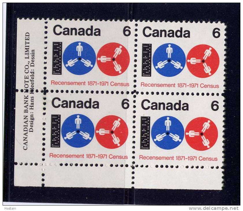 CANADA 1971.#542. CENSUS: Computer Tape& Reels. Block Of 4 M-NH - Blocs-feuillets