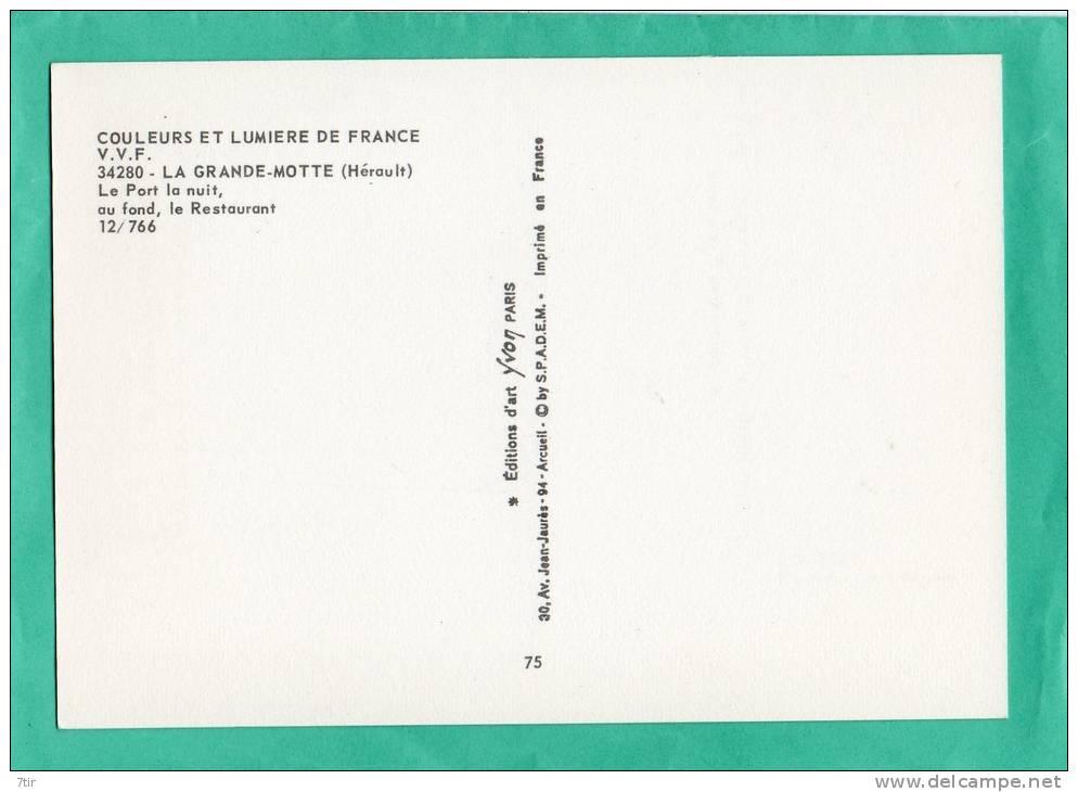 LA GRANDE MOTTE  LE PORT LA NUIT AU FOND LE RESTAURANT - France
