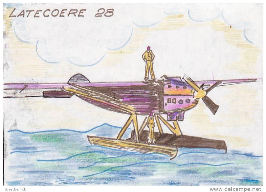 18618 Carte Postale Dessinée Main. Latecoere 28. Hydravion - Beaufils Guy Bezons Mécanicien Navigant - Avions
