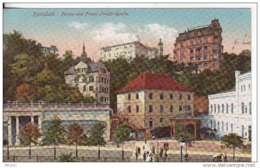 21-Karisbad-Felsen Und Franz-Josefs-Quelle-Oster Reich-Austria-Reiste 1912-Osterreichischen   Briefmarken Ab 2+3 Heller. - Österreich