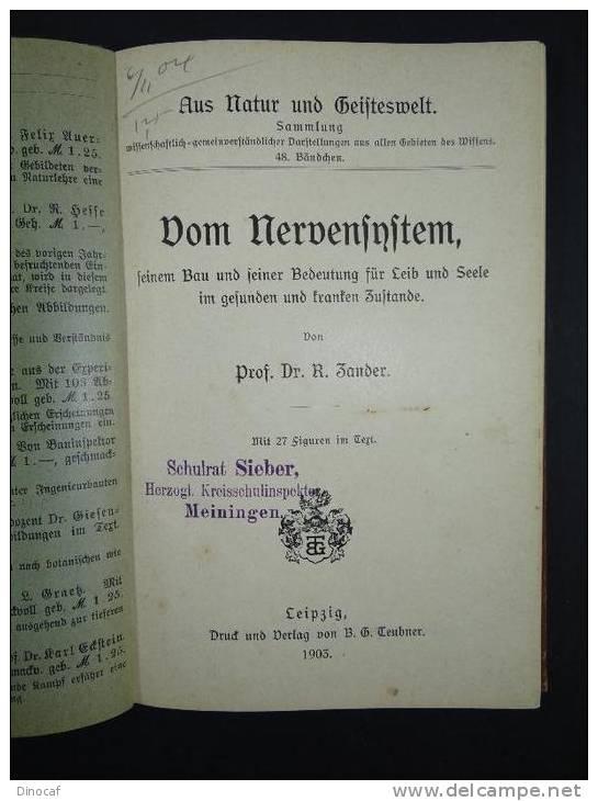 """""""Vom Nervensystem"""", Von Prof. Dr. R. Zander **1903** 151 Seiten, Mit 27 Abbildungen Im Text - Libri Vecchi E Da Collezione"""
