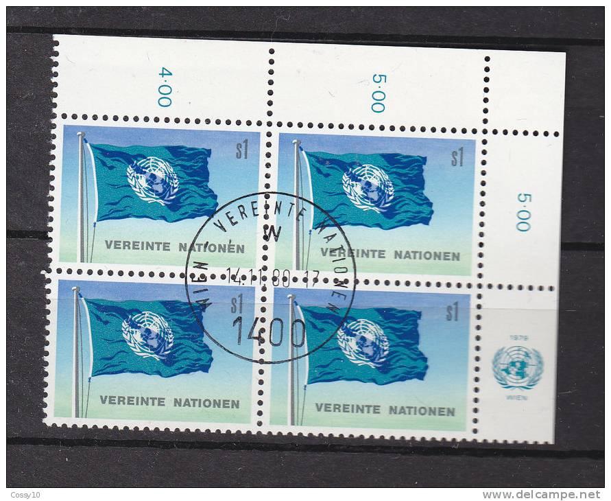 NATIONS  UNIES  VIENNE   1979/80   N°  2  BLOC DE 4  OBLITERE    CATALOGUE YVERT - Centre International De Vienne