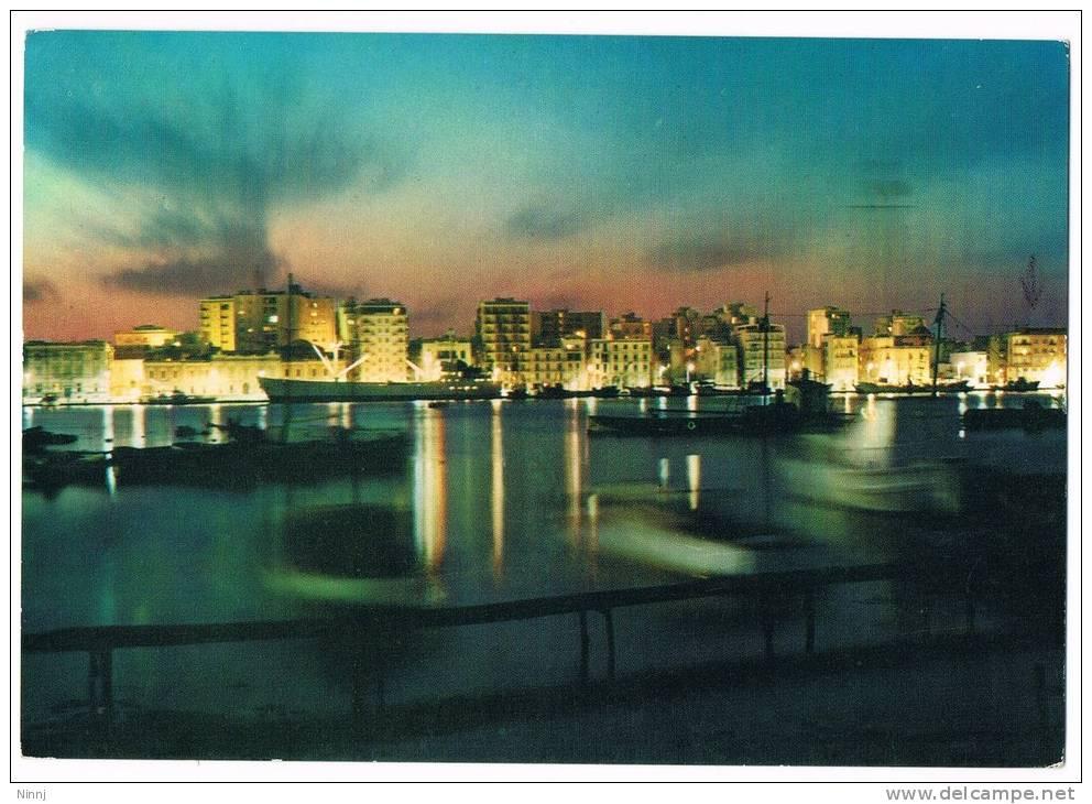 """Italia Trapani """"Il Porto In Notturno""""  Cartolina Animata Viaggiata  Ediz. Giarrizzo 2/2/1971 - Trapani"""