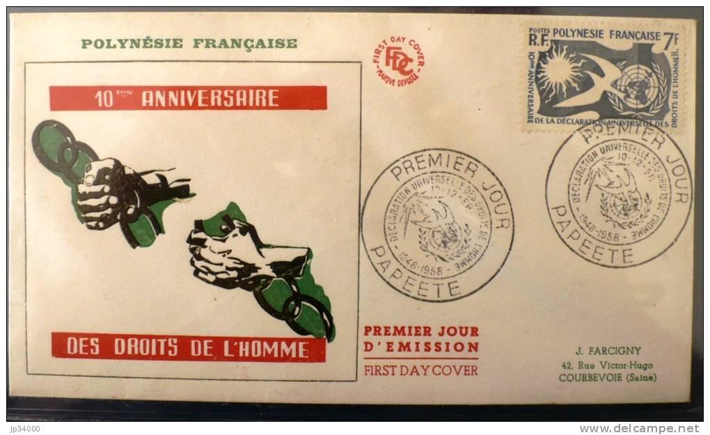 POLYNESIE FRANçAISE: FDC 10° Anniversaire De La Déclaration Universelle Des Droits De L'homme 10/12/58 (yvert N°12) - Polinesia Francesa
