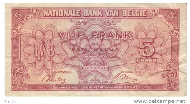 Belgium #121 5 Franc 1 Belga Banknote Currency 1.2.1943 - [ 2] 1831-... : Belgian Kingdom