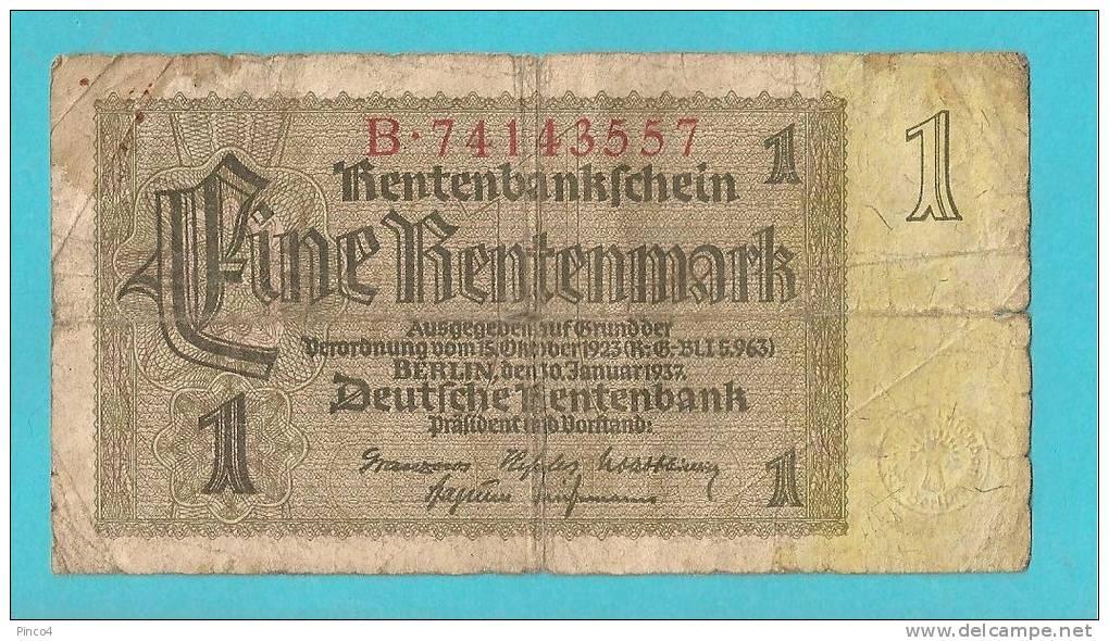 GERMANIA  BANCONOTA DA 1 FINE RENTENMARK - 1933-1945: Drittes Reich