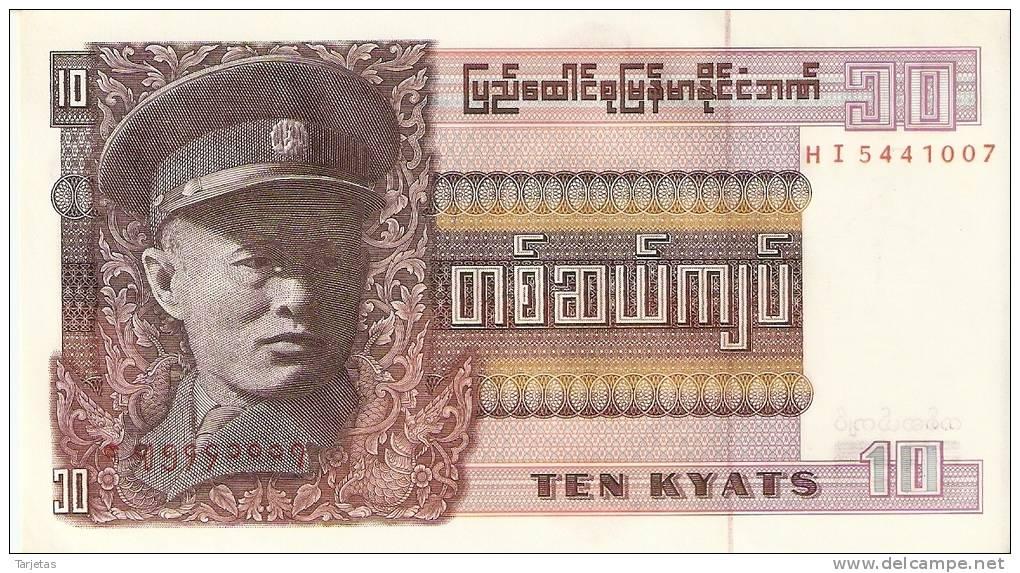 BILLETE DE UNION OF BURMA DE 10 KYATS   (BANKNOTE) NUEVO SIN CIRCULAR - Myanmar