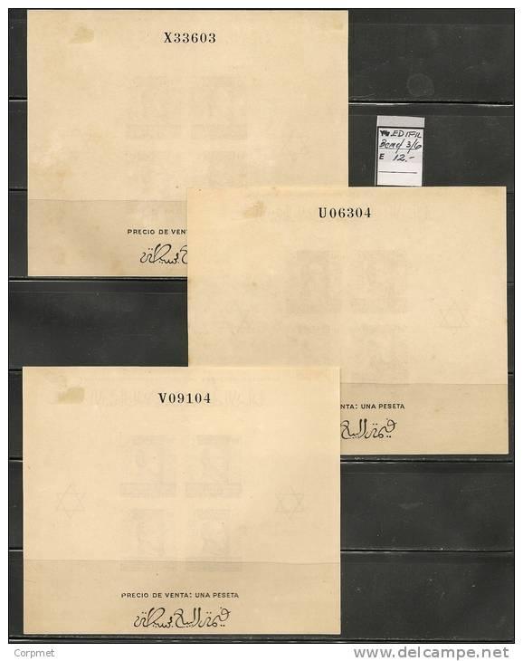 MAROC - 1937-9 TIMBRES DE BIENFAISANCE Au Profit Des Mutilés - GENERAL FRANCO - Blocs Yvert # 3/4/5 - MINT (H) - Marokko (1956-...)