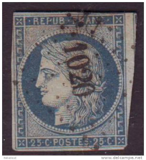 France, Ceres, 25c Blue, Yvert 4, Losagne Petits Chiffres 1020 - 1849-1850 Ceres