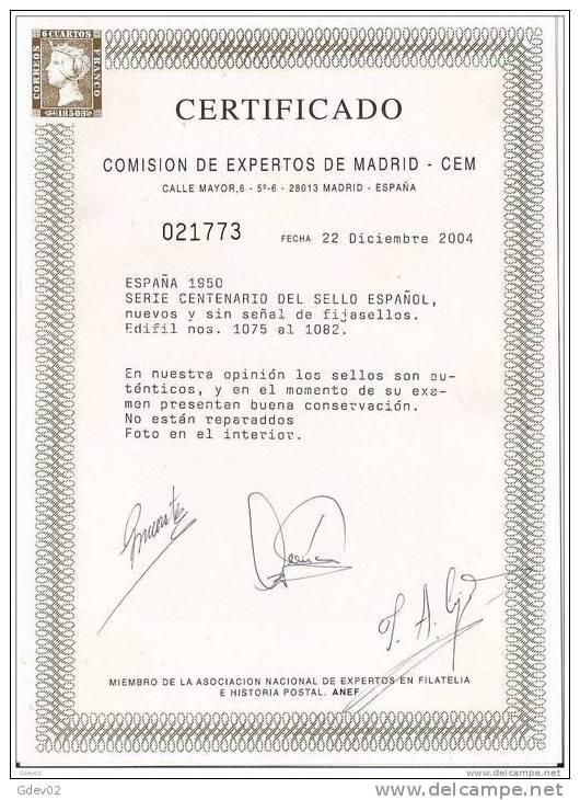 ES1075-L1523TSC.Spain .Espagne CENTENARIO DEL SELLO. ESPAÑA.1950(Ed 1075/82**)sin Charnela.LUJO CERTIFICADO CE - Sellos