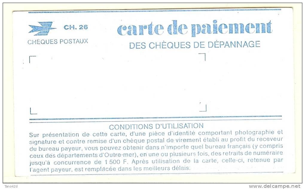 LBR32 - SPECIMEN SANS VALEUR DE CARTE DE PAIEMENT DES CHEQUES DE DEPANNAGE DES CCP - Monnaies & Billets
