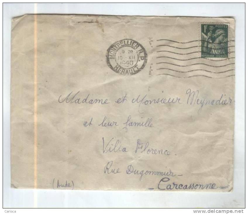 TIMBRE SUR ENVELOPPE IRIS VERT  1F En 1940 No (yt)432 - 1939-44 Iris