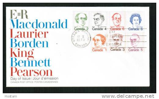 CANADA, 1973, # 586-91, OFDC  CARICATURES   Good Condition - Premiers Jours (FDC)