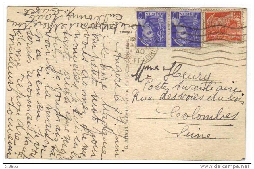 Timbres Sur Carte FRANCE 1940 - France