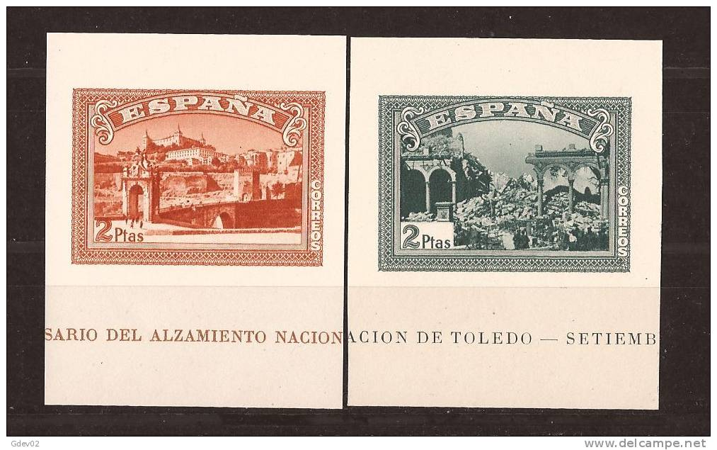 ES838-L4006. España Spain Espagne SELLOS HOJAS SIN DENTAR DEL ALZAMIENTO 1937 (Edsh838/9**)sin Charnela LUJO RARO - 1931-50 Nuevos & Fijasellos