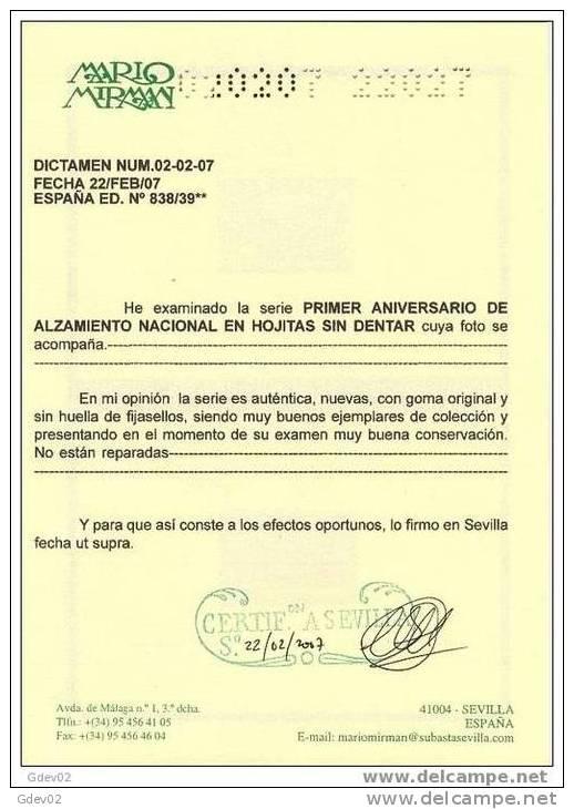 ES838-L2081B.Spain Espagne HB SIN DENTAR ALZAMIENTO N. 1937( Ed 838/9**)sin Charnela.SUPER LUJO CERTIFICADAS - 1931-50 Nuevos & Fijasellos