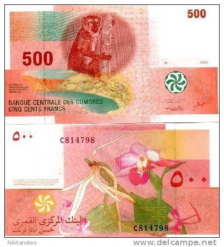 COMOROS 500 Francs 2006 P-15 UNC Comores Lemur Orchard - Comoren