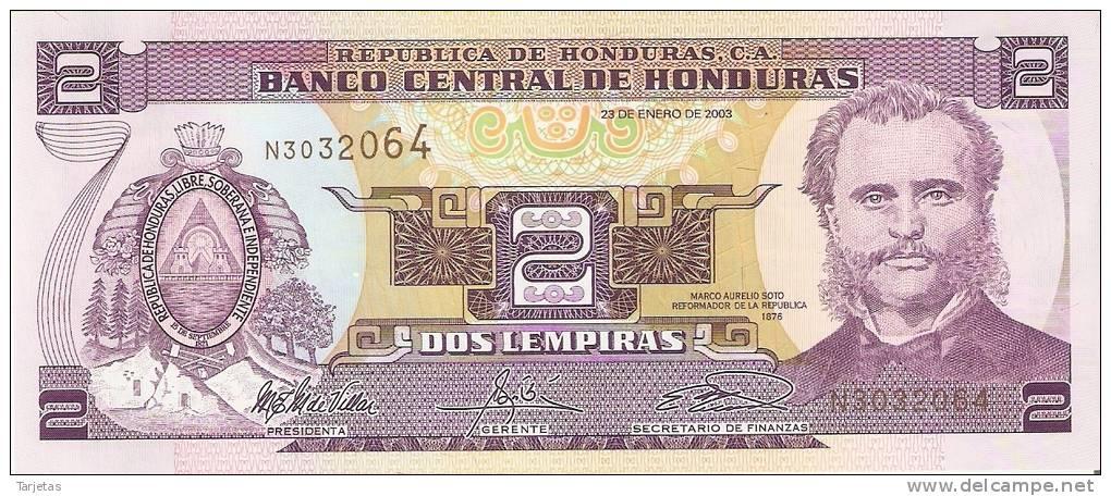 BILLETE DE HONDURAS DE 2 LEMPIRAS  (BANKNOTE) SIN CIRCULAR - Honduras