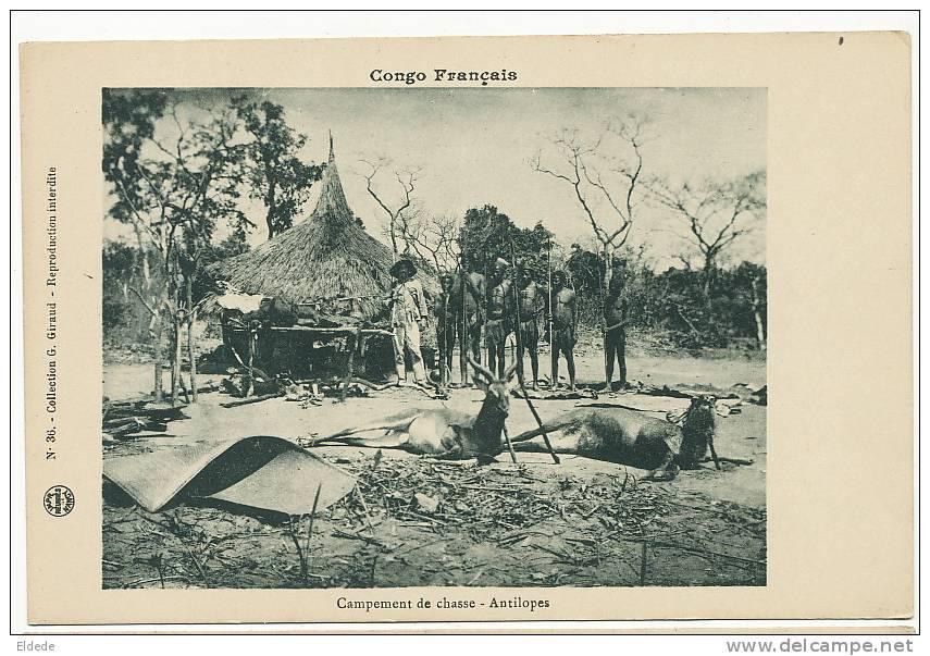 Congo  Campement De Chasse Antilopes  No 36 Giraud Colon Et Chasseurs Nus Avec Lances - Congo - Brazzaville