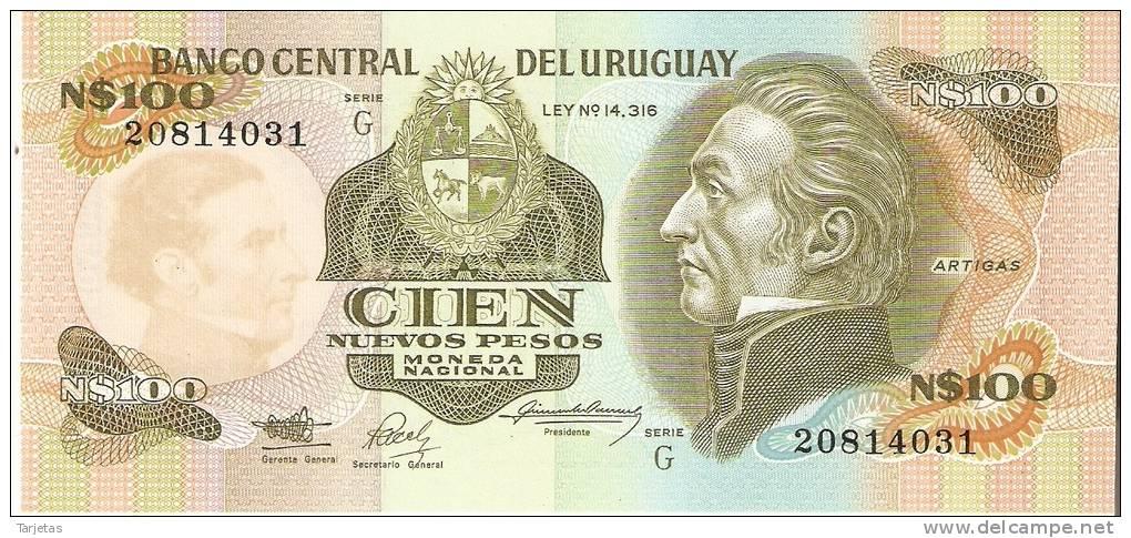 BILLETE DE URUGUAY DE 100 NUEVOS PESOS  (BANKNOTE) SIN CIRCULAR - Uruguay