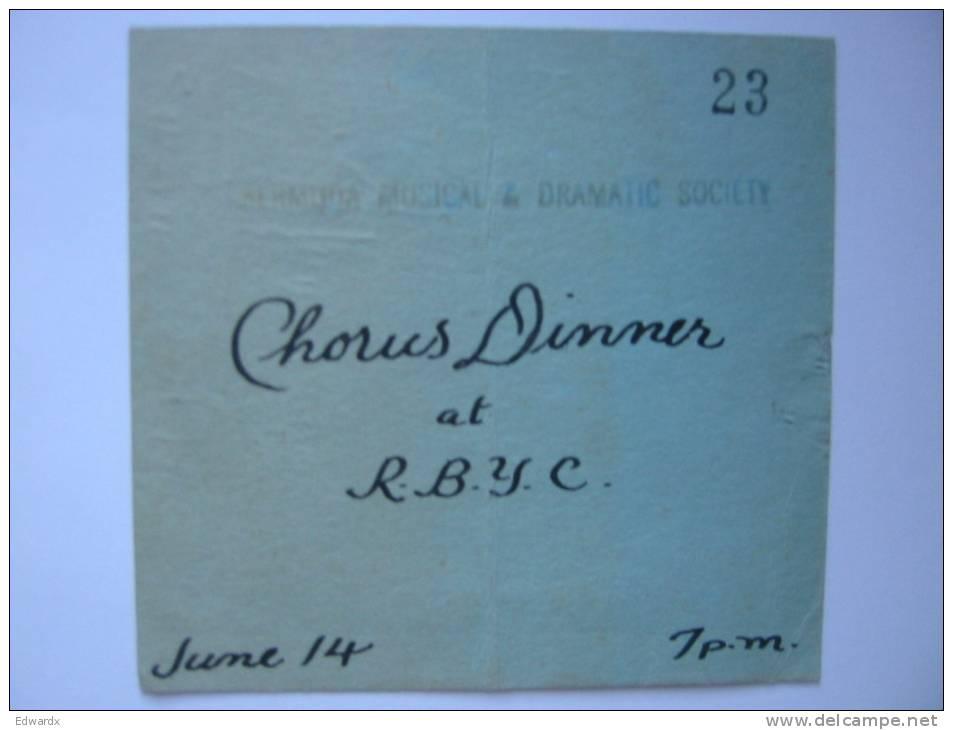 Bermuda Musical & Dramatic Society Chorus Dinner At RBYC Royal Bermuda Yacht Club Invitation 1960s 1970s - Announcements